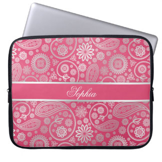 Elegant trendy paisley floral pattern illustration laptop sleeve