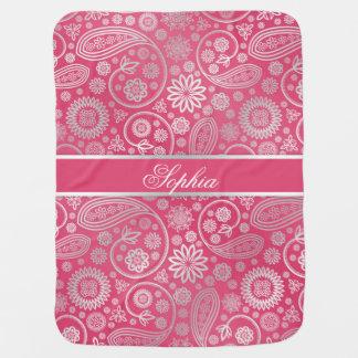Elegant trendy paisley floral pattern illustration swaddle blankets