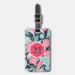 Elegant trendy paisley floral pattern illustration tag for luggage