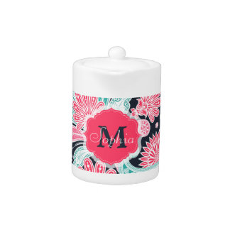Elegant trendy paisley floral pattern illustration teapot