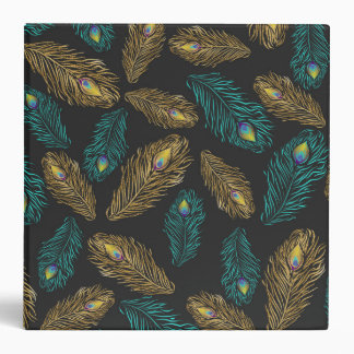 Elegant trendy peacock feathers pattern 3 ring binder