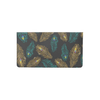 Elegant trendy peacock feathers pattern checkbook cover