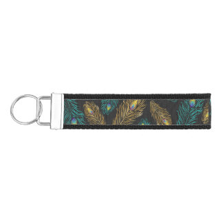 Elegant trendy peacock feathers pattern wrist keychain