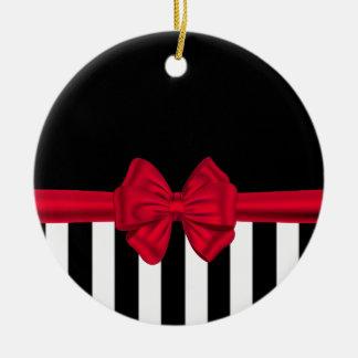 Elegant trendy red bow black stripes black ceramic ornament
