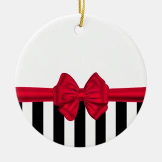 Elegant trendy red bow black stripes white ceramic ornament