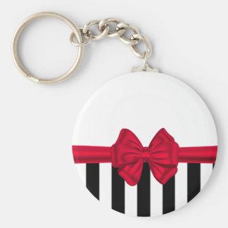 Elegant trendy red bow black stripes white keychain