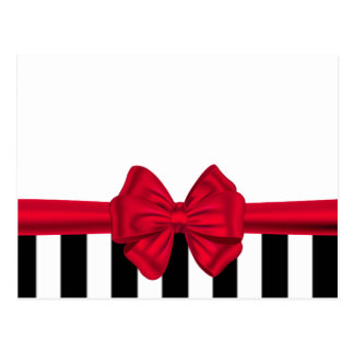 Elegant trendy red bow black stripes white postcard