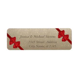 Elegant trendy  red bows glittery label