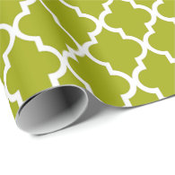 Elegant, trendy, refreshing lime green quatrefoil wrapping paper