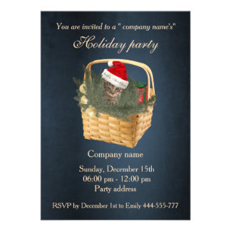 Elegant trendy Santa cat holiday party corporate Card