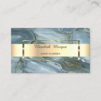 Elegant Trendy Stripe Gold Frame, Marble Business Card