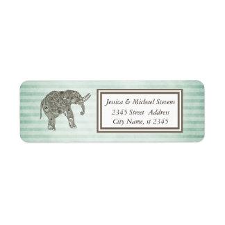 Elegant trendy vintage narrow stripes elephant custom return address label