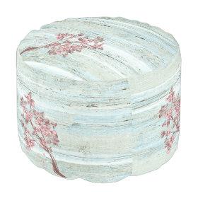 Elegant trendy  vintage wooden cherry tree round pouf