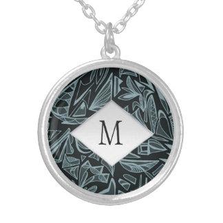 Elegant tribal black antique monogram silver plated necklace
