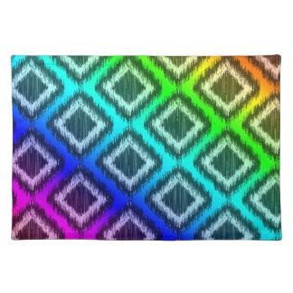 Elegant Tribal Ikat Aztec ZigZag Rainbow Colors Cloth Placemat