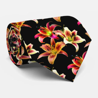 Elegant Trio of Yellow and Pink Daylilies Neck Tie