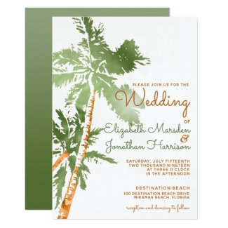 Elegant Tropical Beach Green Gold Palms Wedding Invitation