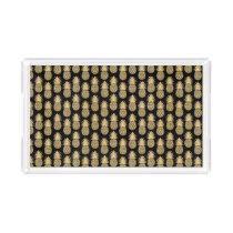 Elegant Tropical Black and Gold Pineapple Pattern Acrylic Tray