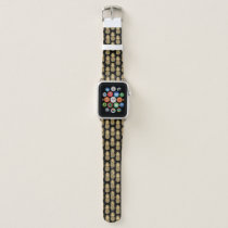 Elegant Tropical Black and Gold Pineapple Pattern Apple Watch Band