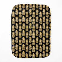 Elegant Tropical Black and Gold Pineapple Pattern Baby Burp Cloth