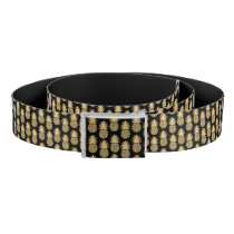 Elegant Tropical Black and Gold Pineapple Pattern Belt