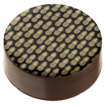 Elegant Tropical Black and Gold Pineapple Pattern Chocolate Covered Oreo