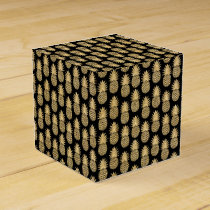 Elegant Tropical Black and Gold Pineapple Pattern Favor Box