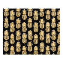 Elegant Tropical Black and Gold Pineapple Pattern Flyer
