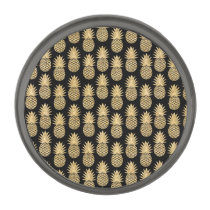 Elegant Tropical Black and Gold Pineapple Pattern Gunmetal Finish Lapel Pin