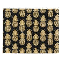 Elegant Tropical Black and Gold Pineapple Pattern Jigsaw Puzzle