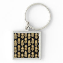 Elegant Tropical Black and Gold Pineapple Pattern Keychain