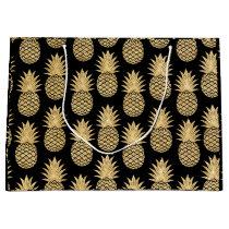 Elegant Tropical Black and Gold Pineapple Pattern Large Gift Bag