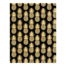Elegant Tropical Black and Gold Pineapple Pattern Letterhead