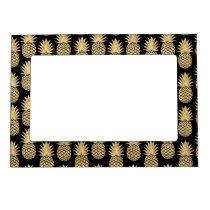 Elegant Tropical Black and Gold Pineapple Pattern Magnetic Frame
