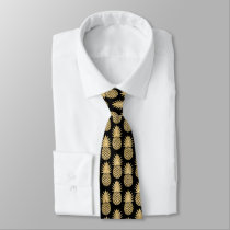 Elegant Tropical Black and Gold Pineapple Pattern Neck Tie