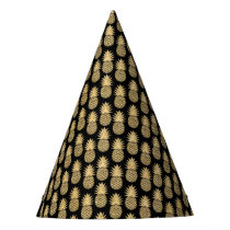 Elegant Tropical Black and Gold Pineapple Pattern Party Hat