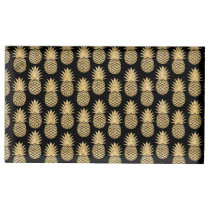Elegant Tropical Black and Gold Pineapple Pattern Place Card Holder