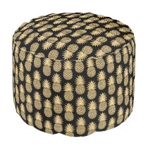 Elegant Tropical Black and Gold Pineapple Pattern Pouf