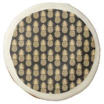 Elegant Tropical Black and Gold Pineapple Pattern Sugar Cookie