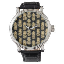 Elegant Tropical Black and Gold Pineapple Pattern Watch
