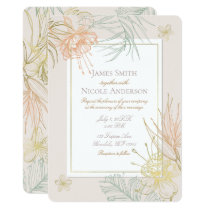 Elegant Tropical Botanical Floral Leaves Wedding Card