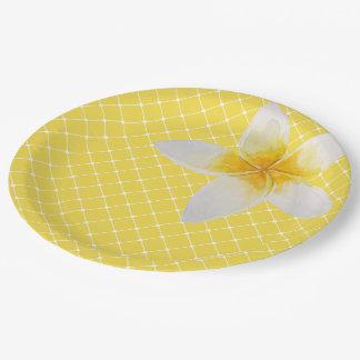 Elegant Tropical Flower & Trellis Pattern | Yellow Paper Plate