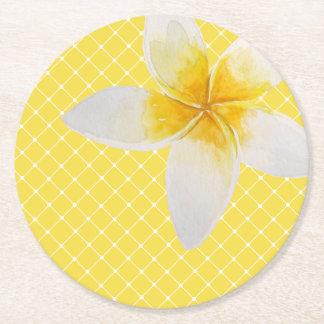 Elegant Tropical Flower & Trellis Pattern | Yellow Round Paper Coaster