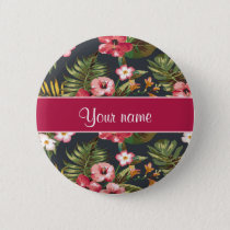 Elegant Tropical Hibiscus Flowers and Leaves Button