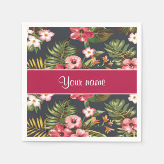 Elegant Tropical Hibiscus Flowers and Leaves Paper Napkin