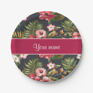 Elegant Tropical Hibiscus Flowers and Leaves Paper Plate