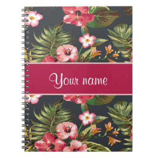 Elegant Tropical Hibiscus Flowers and Leaves Spiral Notebook