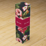 """Elegant Tropical Hibiscus Flowers and Leaves Wine Gift Box<br><div class=""""desc"""">Beautiful,  elegant tropical hibiscus flowers and leaves pattern.  Personalize by clicking on the &#39;Customize&#39; or &#39;Personalize&#39; button.</div>"""