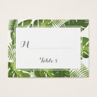 Elegant Tropical leaves place escort table card