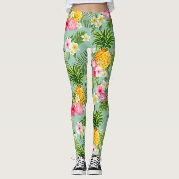 Beach Themed Elegant Tropical Pineapple Watercolor Pattern Leggings